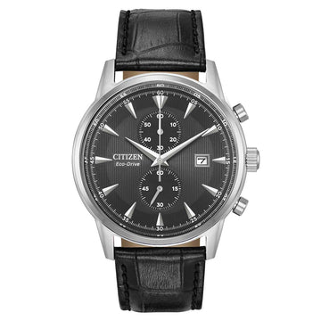 Citizen Men's Chronograph Watch - Corso Eco-Drive Black Dial Black Strap | CA7000-04H