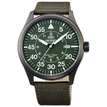 Orient ER2A007F Men's Flight Olive Green Nylon Strap Green Dial Power Reserve Automatic Date Watch