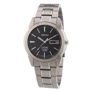 Seiko Men's Bracelet Watch - Titanium Black Dial Quartz Day Date | SGG731P1