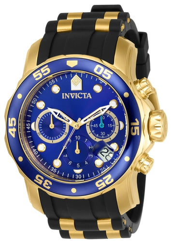 Invicta Men's Chronograph Watch - Pro Diver Blue Dial Steel & Polyurethane Strap