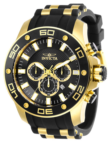Invicta Men's Chronograph Watch - Pro Diver Steel & Black Silicone Strap | 26086