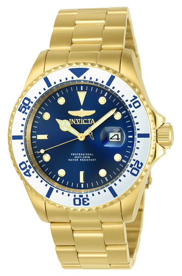 Invicta 23382 Men's Pro Diver Blue Dial Yellow Gold Steel Bracelet Dive Watch