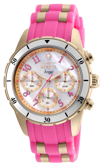 Invicta 24900 Women's Angel White Oyster Dial Rose Gold Steel & Pink Silicone Strap Chrono Watch