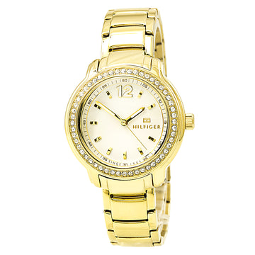 Tommy Hilfiger 1781467 Women's Callie Crystal White Dial Yellow Gold Steel Bracelet Watch
