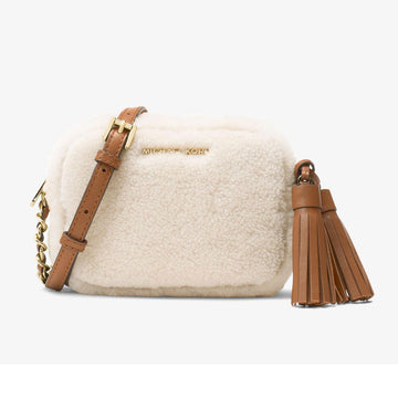 Michael Kors Women's White Wool Crossbody Shoulder Bag - Jet Set Travel Small