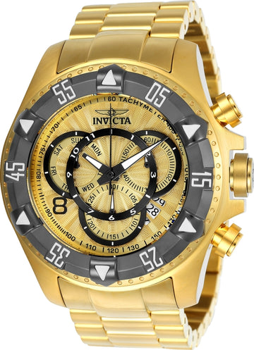 Invicta 24266 Men's Excursion Chronograph Gold Dial Yellow Gold Steel Bracelet Dive Watch
