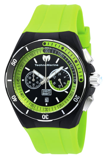 Technomarine TM-115160 Men's Cruise Sport Black Dial Green Silicone Strap Dive Watch