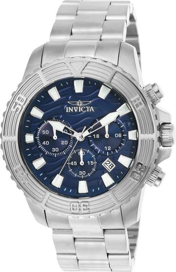 Invicta 23999 Men's Pro Diver Blue Dial Stainless Steel Bracelet Chronograph Watch