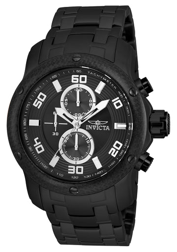 Invicta 24157 Men's Pro Diver Black Dial Black IP Steel Bracelet Chronograph Watch