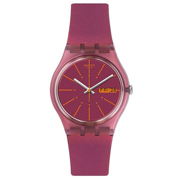 Swatch GP701 Unisex Archi-Mix Sneaky Peaky Pink Dial Pink Silicone Strap Watch
