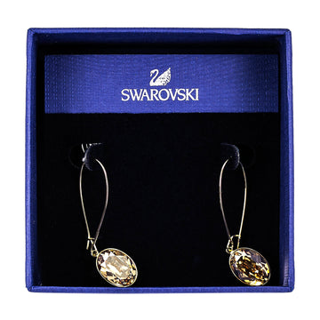 "Swarovski 1120290 Women's Puzzle Golden Shadow Crystal Pierced Earrings, 1-3/4"" Size"