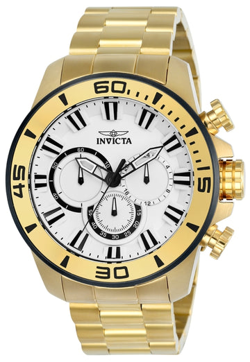 Invicta 22589 Men's Pro Diver White Dial Yellow Gold Steel Bracelet Chronograph Watch