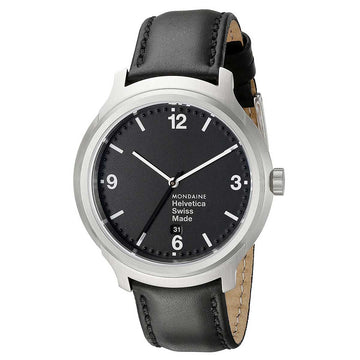 Mondaine MH1.B1220.LB Men's Helvetica No1 Bold Black Leather Strap Black Dial Swiss Date Watch