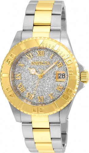Invicta 22709 Women's Two Tone Yellow Steel Bracelet Swiss Quartz Angel Silver Dial Date Watch