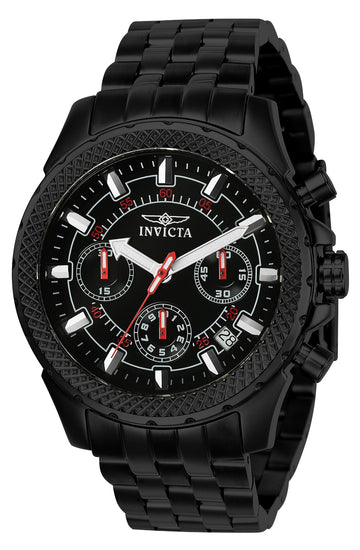 Invicta Men's Chronograph Watch - Signature Black Dial Black Steel Bracelet | 7097S