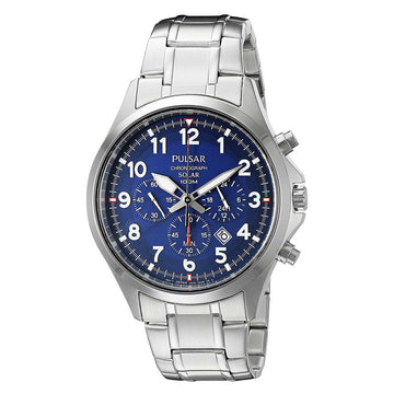 Pulsar PX5037 Men's Business Stainless Steel Bracelet Chronograph Blue Dial Solar Watch