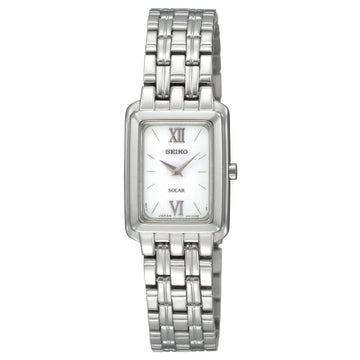 Seiko SUP009 Women's Solar Silver Square Dial Stainless Steel Watch