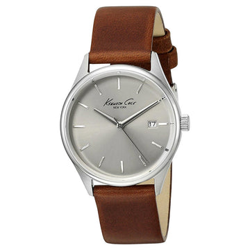 Kenneth Cole 10025931 Women's Brown Leather Band Quartz Classic Silver Dial Date Watch