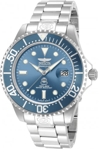Invicta Men's Grand Diver Automatic Watch - Blue Dial Steel Bracelet Date | 13859