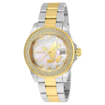 Invicta Women's MOP Dial Two Tone Watch - Disney Crystal Accent Bezel Swiss | 22729