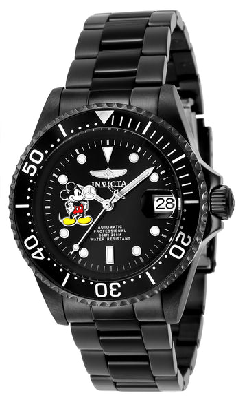 Invicta Men's Automatic Black Steel Watch - Disney Edition Black Dial Date | 24416