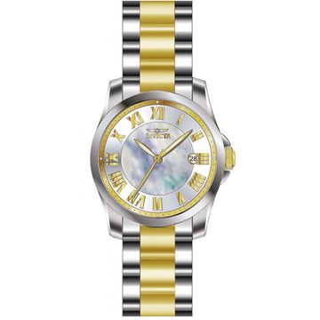 Invicta 15236 Women's Two Tone Yellow Steel Bracelet Angel Mother of Pearl Dial Date Watch
