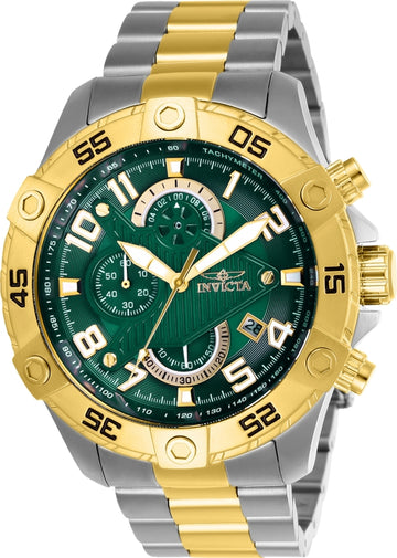 Invicta Men's Chronograph Watch - S1 Rally Green Dial Two Tone Bracelet | 26099