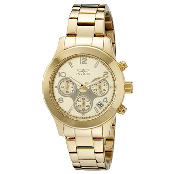 Invicta Women's Chronograph Yellow Gold Steel Watch - Angel Quartz Gold Dial | 19217