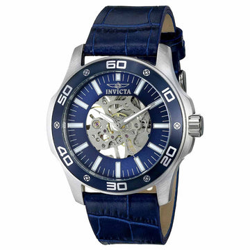 Invicta 17259 Men's Specialty Grand Mechanical Blue & Silver Skeleton Dial Blue Leather Strap Watch