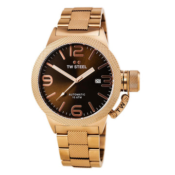 TW Steel CB195 Men's Canteen Bracelet Brown Sunray Dial Automatic Rose Gold Plated Steel Date Watch