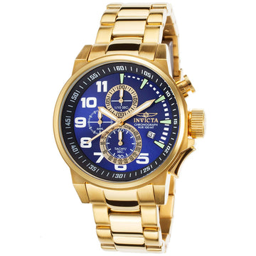 Invicta 17417 Men's Force Blue Dial Gold Steel Bracelet Chronograph Watch