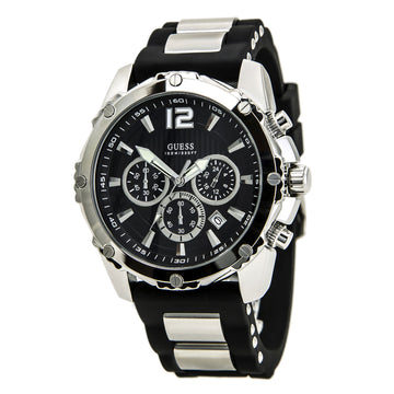 Guess U0167G1 Men's Duo Tone Sport Black Dial Steel & Rubber Strap Chronograph Watch