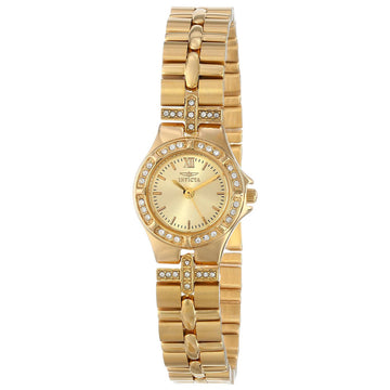 Invicta Women's Wildflower Watch - Quartz Crystal Gold Dial Yellow Gold Steel | 0134