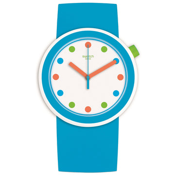 Swatch PNW102 Men's Poppingpop White Dial Blue Silicone Strap Watch