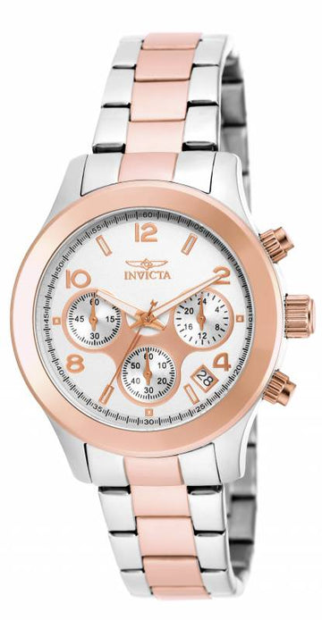 Invicta 19220 Women's Angel Silver Dial Two Tone Rose Gold Steel Chronograph Watch