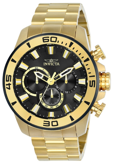 Invicta 22590 Men's Pro Diver Black Dial Yellow Gold Steel Bracelet Watch