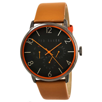 Ted Baker 10023490 Men's Classic Quartz Brown Leather Strap Black Dial Day Date Watch