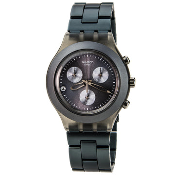 Swatch SVCM4007AG Unisex Full-Blooded Grey Tone Aluminum Chronograph Grey Dial Swiss Date Watch