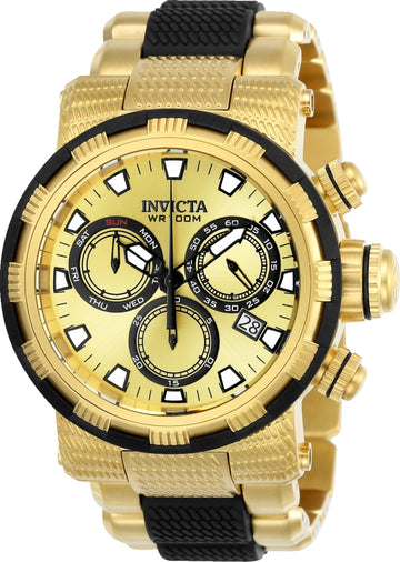 Invicta 23978 Men's Specialty Gold Dial Yellow Steel & Black Polyurethane Bracelet Chrono Watch