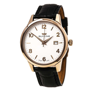 Glycine 3925-21 Men's Black Leather Band Swiss Quartz Classic White Dial Date Watch