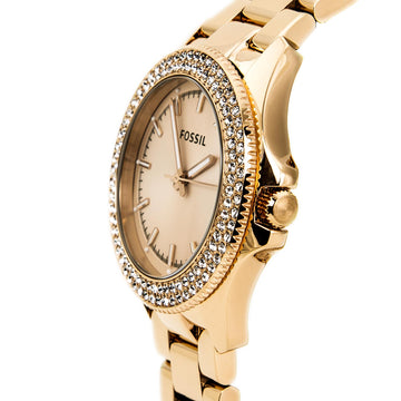 Fossil Women's Retro Traveler Watch - Quartz Rose Gold Steel Bracelet Date | AM4454