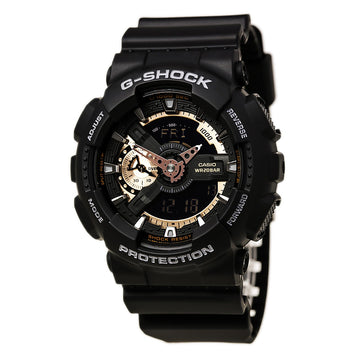 Casio GA110RG-1 Men's G-Shock Alarm Analog & Digital Black Dial Quartz Black Resin Strap Dive Watch