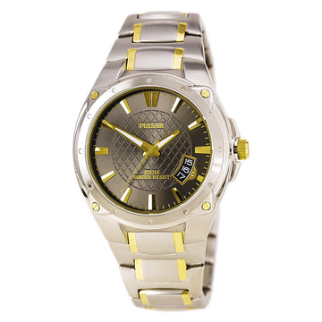 Pulsar PXH825 Men's Sport Black Dial Two Tone Yellow Gold Steel Bracelet Quartz Date Watch