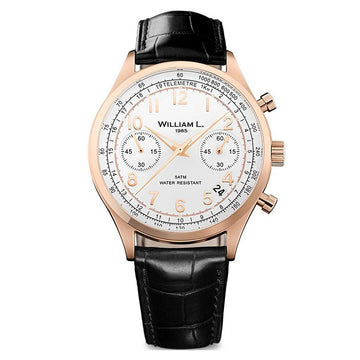 William L. 1985 WLOR01BCORCN Men's Chronographs Vintage Style White Dial Black Leather Strap Watch