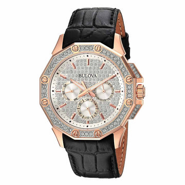 Bulova Men's Leather Strap Watch - Crystal Rose Gold Steel Silver Tone Dial | 98C125