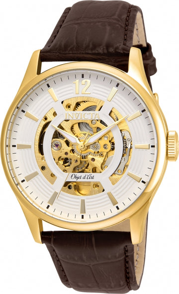 Invicta 22595 Men's Brown Leather Strap Automatic Objet D Art White-Gold Semi-Skeleton Dial Watch