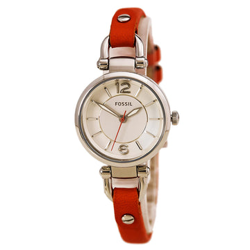 Fossil ES3742 Women's Coral Leather Slim Band Quartz Georgia White Dial Watch