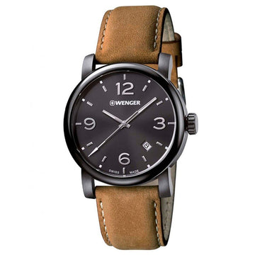 Wenger 01.1041.129 Men's Urban Metropolitan Light Brown Leather Strap Swiss Black Dial Date Watch