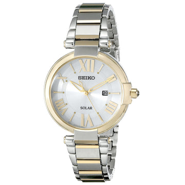 Seiko SUT174 Women's Recraft Solar Silver Tone Dial Two Tone Yellow Gold Steel Watch