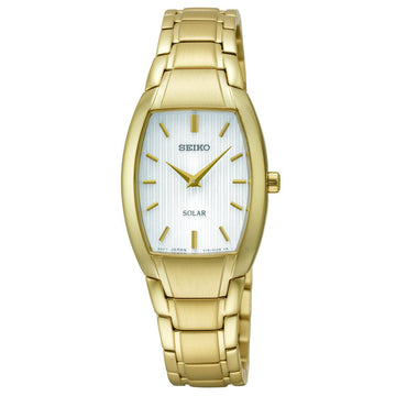 Seiko SUP262 Women's Solar White Dial Yellow Gold Steel Bracelet Watch